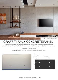 Just because something isn't real, doesn't make it any lesser.Faux concrete panels offer you all the look, feel, and style of authentic concrete without the hassle, cost, or a difficult installation process. EXTREMELY LIGHTWEIGHT Weighing in at only 2kg SIMPLE TO INSTALL Each panel is tongue and groove, simply just screw to the wall and you're golden. Brick Wall Paneling, Concrete Wall Panels, Textured Wall Panels, Faux Brick Walls, Wood Panel Walls, Concrete Walls, Wall Partition Design, Wall Panel Design, Tv Wall Design