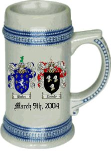 Both families coat of arms beer stein