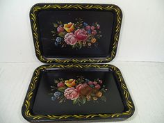 Vintage Hand Painted Look Multicolor Flowers Litho on Black Enamel Metal Trays Set of 2 - Shabby Chic BoHo Bistro Display Floral Bouquet Duo by DivineOrders