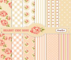 12 Shabby Chic Rose Digital Scrapbook Paper pack by AngelinaWorks, $4.60