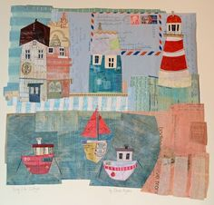 Quay Side Cottages by Elaine Hughes - hand and machine stitched paper collages incorporating drawing, textiles and vintage ephemera Seaside Art, Paper Collage Art, Sketchbook Inspiration, Mini Quilts, Mixed Media Collage, Art Club, Mail Art, Illustrations, Teaching Art