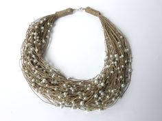 One of a Kind Linen with Pearls Necklace Spring & Summer. $55.00, via Etsy.