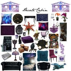 Hecate Cabin by fandoms-have-eaten-my-soul on Polyvore featuring polyvore, fashion, style, Kenneth Mink, Lord Lou, Universal Lighting and Decor, Grandin Road, Armen Living, Nearly Natural and Laura Cole