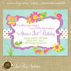 #bug themed #party invitation https://www.etsy.com/listing/183319027/bug-insect-themed-2nd-birthday-party