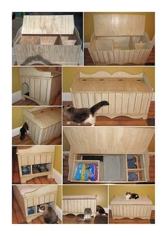 Bench that hides litter box and food!  Bench kit found at Michaels or Hobby Lobby.