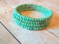 Mint Green Glass Seed Bead Silver Wire Wrap Bangle Bracelet by handmadebyfirefli