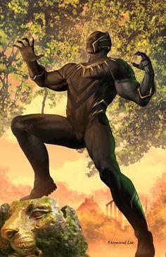 Black Panther by Raymund Lee Marvel Comic Universe, Marvel Dc Comics, Marvel Avengers, Black Panther 2018, Black Panther Marvel, Wakanda Marvel, Black Panther Chadwick Boseman, Black Panther Costume, Black Love Art