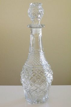Vintage old ornate clear pressed glass liquor by stickerdoodlez, $25.00