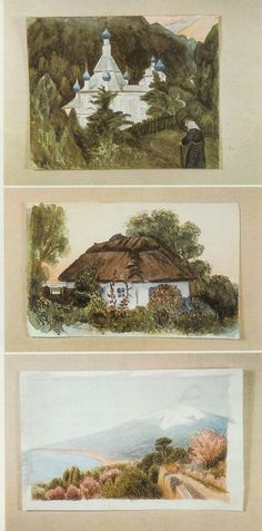 """Watercolors by Grand Duchess Maria. Maria was described as rather lazy by her tutors, but she loved to paint when the spirit moved her. She always drew and painted with her left hand, but wrote with her right hand.  (Source: """"Thirteen Years at the Russian Court"""" by Pierre Gilliard)"""