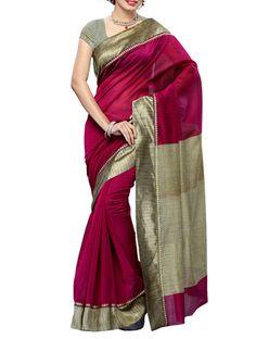 Buy Mimosa magenta Mimosa Women Kanchipuram Fancy Art Saree With Contrast Blouse (Purple ,3141-7092-AB-MEJ) Saree Online, , LimeRoad