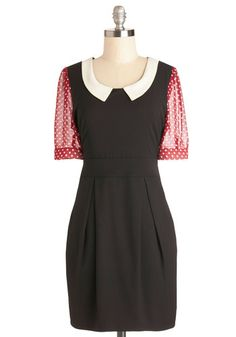 See You There Dress by Kling - Black, Red, Polka Dots, Pleats, Pockets, Short Sleeves, Better, Collared, Work, White, Sheath / Shift