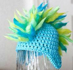 blue mohawk baby hat, unique