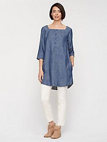 Square Neck Layering Dress in Tencel Linen Chambray