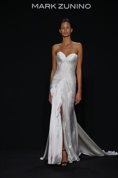 Style 156 strapless gown with center slit by Mark Zunino   NY Bridal Week. Photo: Courtesy of Mark Zunino for Kleinfeld. Read More: http://www.insideweddings.com/news/fashion/celebrate-individuality-with-mark-zunino-for-kleinfeld-2016/2548/
