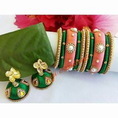 To order, pls what's app on 9492991857 Silk Thread Bangles Design, Silk Bangles, Silk Thread Earrings, Thread Jewellery, Beaded Jewelry, Bangles Making, Jewelry Making, Hand Accessories, Terracotta Jewellery