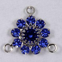 Rhinestone Flowers- Silver/Sapphire