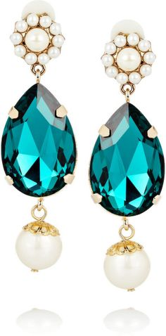 Dolce & Gabbana Goldplated Swarovski Crystal Clip Earrings - Teal
