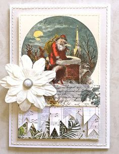 Vintage Santa Card by Lauren Bergold; Black and White Wide Flowers Tape, Paper Flowers and Pearl Brad by Eyelet Outlet: