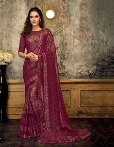Product Features: Color: Wine Fabric: Lycra, Fancy Net Blouse Fabric: Raw Silk Saree Length: M Blouse Length: M Type of Work: Frill Details Product Weight: kg Disclaimer: Color and Texture may have slight variation due to photography Sarees For Girls, Party Wear Sarees Online, Indian Clothes Online, Modern Saree, Ethnic Sarees, Designer Sarees Online, Fancy Sarees, Bollywood Fashion, Saree Fashion