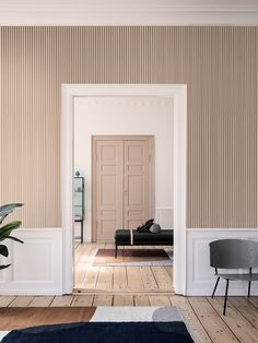 Thin Lines Wallpaper - Mustard/Off White