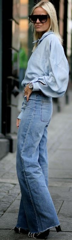 Blue Double Denim Outfit