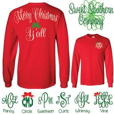 Merry Christmas Y'all Monogrammed Long Sleeve Shirt by SweetSouthernCompany