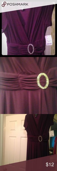 Purple dress w/ a rhinestone on the waist! Excellent condition⭐️⭐️⭐️ it has what appears to be a belt but it's not and it's layered so it's not see-through. You wouldn't have to wear a slip or stockings or tights under it unless you want to. R & M Richards Dresses