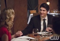 """The Flash -- """"All Star Team Up"""" -- Image FLA118A_0248b -- Pictured (L-R): Emily Bett Rickards as Felicity Smoak and Brandon Routh as Ray Palmer -- Photo: Cate Cameron/The CW -- © 2015 The CW Network, LLC. All rights reserved.pn"""