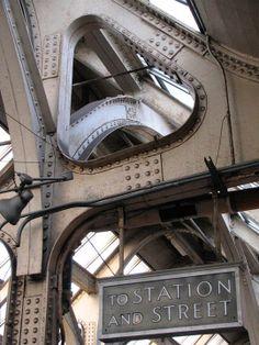 The exposed girders in the ceiling over platform 1 of Newark Pennsylvania Station - Dark Roasted Blend