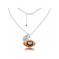 Sterling Silver Clemson Crystal Football Necklace, 18