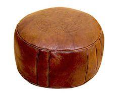 Marockansk Läder Sittpuff Natur Fez