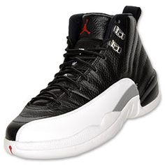 Mens Air Jordan Retro 12 Playoffs Black White shoes