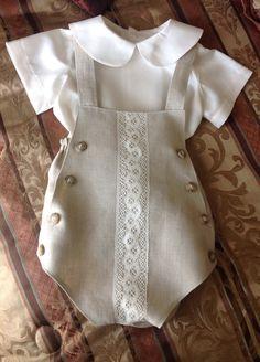 Romper para niño Baby Boy Dress, Baby Boy Outfits, Kids Outfits, Boy Christening Outfit, Baby Christening, Baby Girl Fashion, Kids Fashion, Cute Baby Clothes, Baby Sewing