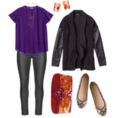 A fashion look from October 2014 featuring H&M blouses, J.Crew flats and KC Malhan clutches. Browse and shop related looks.