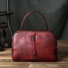 Handmade Vintage Vegetable Tanned Leather Handbag Messenger Bag Shoulder Bag in Vintage Brown YS03 - LISABAG