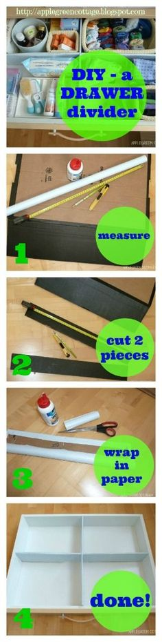 DIY Cardboard drawer dividers - how to make the most of your drawer space - in minutes!