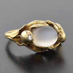 Art Nouveau 14kt Moonstone & Diamond Figural Ring