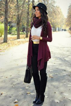 Burgundy cardigan. Black pants. White blouse. Boots.