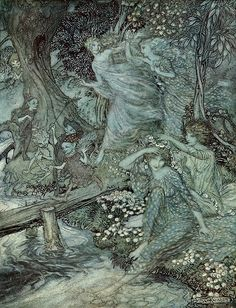"""enchantingimagery: """" By dimpled Brook, and Fountain brim/The Wood-Nymphs, deckt with Daisies trim/Their merry wakes and pastimes keep. Arthur Rackham, illustration for John Milton's Comus. Arthur Rackham, Edmund Dulac, Wood Nymphs, Vintage Fairies, Vintage Art, Fairytale Art, Fairy Art, Children's Book Illustration, London Illustration"""