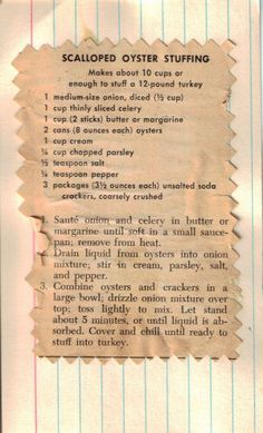 Scalloped Oyster Stuffing – Recipe Clipping