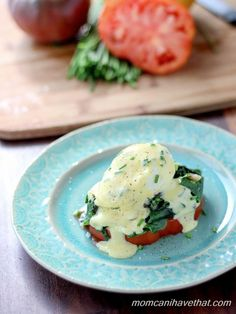 Heirloom Tomato and Swiss Chard Benedict   Low Carb, Gluten-free, Paleo, thm-s   momcanihavethat.com