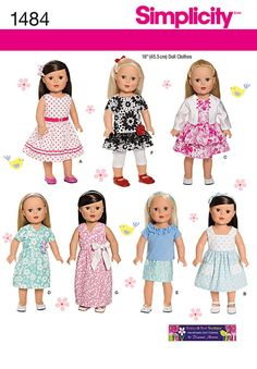 Simplicity Sewing Pattern 1484 - 18 Doll Clothes Sizes: One Size Sewing Doll Clothes, American Doll Clothes, Girl Doll Clothes, Girl Dolls, American Dolls, Doll Dress Patterns, Clothing Patterns, Barbie, Simplicity Sewing Patterns