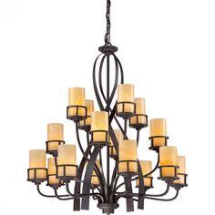 Sixteen Light Imperial Bronze Butterscotch Onyx Shade Drum Shade Chandelier : E5F1 | Bright Light Design Center