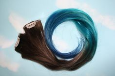 Ombre Turquoise Blue Tip Dyed Hair Extensions Dark Brown/Black, 22 inches long, Clip In Hair Extensions, Hippie Hair, Dipped Dyed Hair. $57.00, via Etsy.