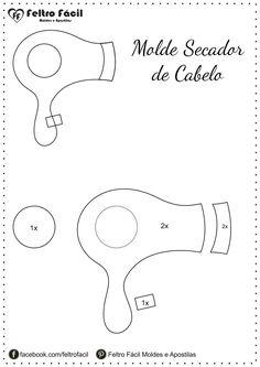 Moldes de sapato, secador de cabelo, esmalte e batom em feltro!
