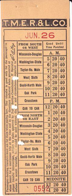 Transfer from The Milwaukee Electric Railway & Light Company (Racine, Wisconsin lines) (1930s)