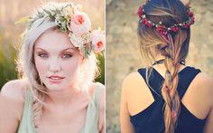 12 maneiras lindas de usar sua coroa de flores  Trançar o cabelo todo também é uma ótima alternativa. Invista em versões diferentes, tipo uma espinha de peixe, ou aproveite os detalhes do acessório nas mechas da trança. <3 <3
