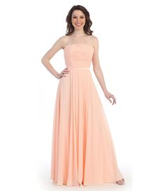 This is a strapless empire waist blush gown.  This dress is classic and perfect for your memorable night out!