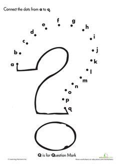 Worksheets: Alphabet Dot to Dot: Q