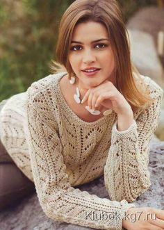 Ажурный пуловер спицами | Клубок